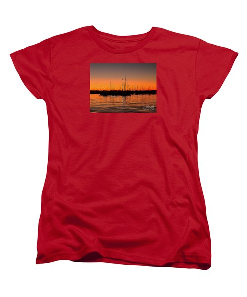 Marina Moonlight Masts Women's T-Shirt (Standard Cut) by Shelia Kempf