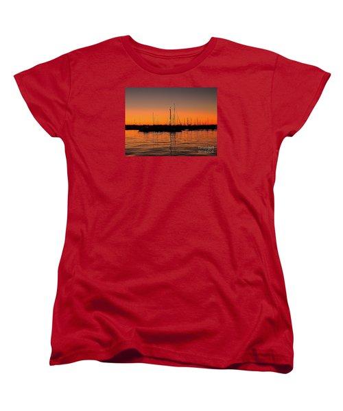 Women's T-Shirt (Standard Cut) featuring the photograph Marina Moonlight Masts by Shelia Kempf
