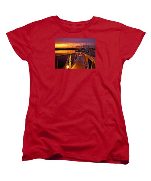 Marina Sunset Women's T-Shirt (Standard Cut) by Laura Ragland