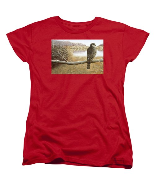 Women's T-Shirt (Standard Cut) featuring the painting Marsh Hawk by Laurie Stewart