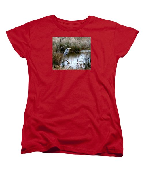 Marsh Pond Great Blue Heron Women's T-Shirt (Standard Cut) by Phyllis Beiser