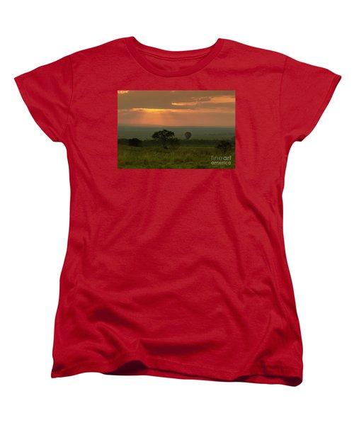 Women's T-Shirt (Standard Cut) featuring the photograph Masai Mara Balloon Sunrise by Karen Lewis