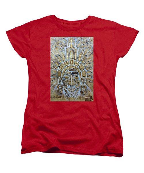 Women's T-Shirt (Standard Cut) featuring the painting Mayan Warrior by J- J- Espinoza