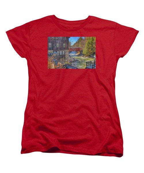 Mcconnells Mill Winter  Women's T-Shirt (Standard Cut) by Randy Steele