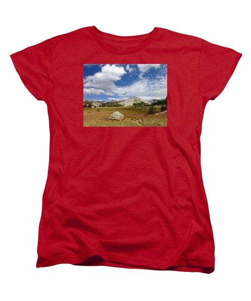 John Muir Trail High Sierra Camp Meadow Women's T-Shirt (Standard Cut) by Amelia Racca