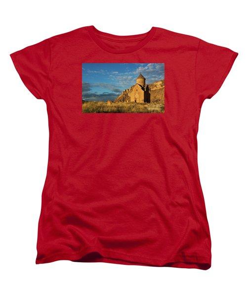 Medieval Areni Church Under Puffy Clouds, Armenia Women's T-Shirt (Standard Cut) by Gurgen Bakhshetsyan