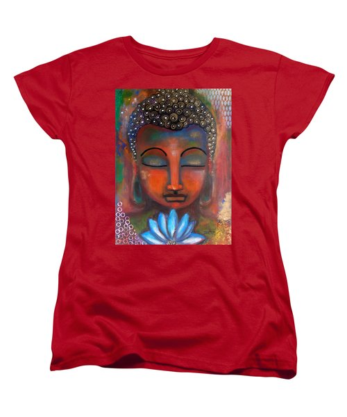 Women's T-Shirt (Standard Cut) featuring the painting Meditating Buddha With A Blue Lotus by Prerna Poojara