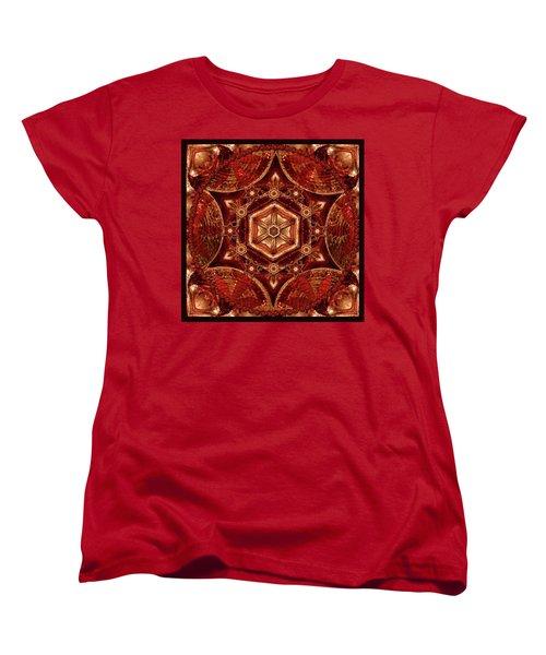 Women's T-Shirt (Standard Cut) featuring the digital art Meditation In Copper by Deborah Smith