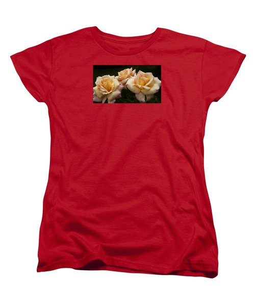 Women's T-Shirt (Standard Cut) featuring the photograph Medley Of Three Yellow Roses by Barbara Middleton