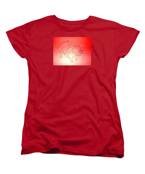 Women's T-Shirt (Standard Cut) featuring the drawing Meishan Sow 3 by Larry Campbell