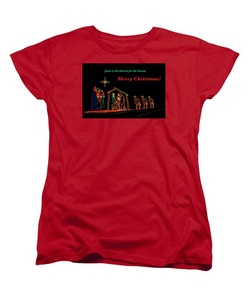 Merry Christmas Women's T-Shirt (Standard Cut) by Penny Lisowski