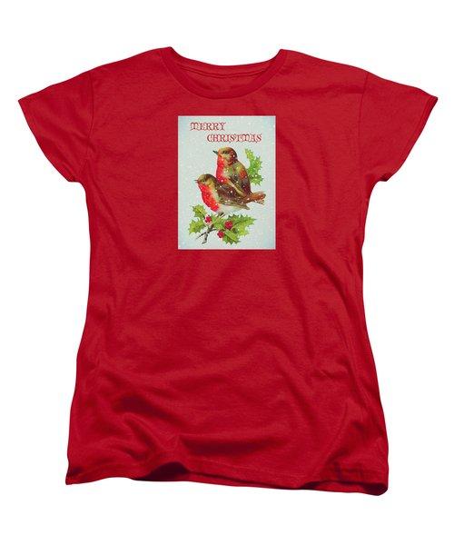 Merry Christmas Snowy Bird Couple Women's T-Shirt (Standard Cut) by Sandi OReilly