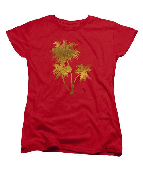 Metallic Gold Palm Trees Tropical Trendy Art Women's T-Shirt (Standard Fit)