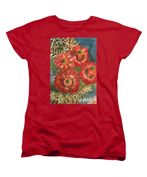 Women's T-Shirt (Standard Cut) featuring the painting Mexican Pincushion by Eric Samuelson