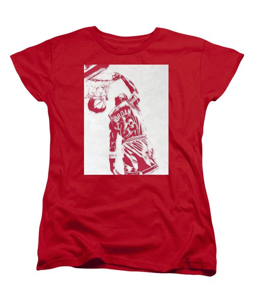 Michael Jordan Chicago Bulls Pixel Art 1 Women's T-Shirt (Standard Cut)