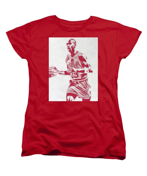 Michael Jordan Chicago Bulls Pixel Art 2 Women's T-Shirt (Standard Cut) by Joe Hamilton