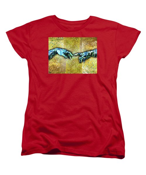 Women's T-Shirt (Standard Cut) featuring the mixed media Michelangelo's Creation Of Man by Tony Rubino