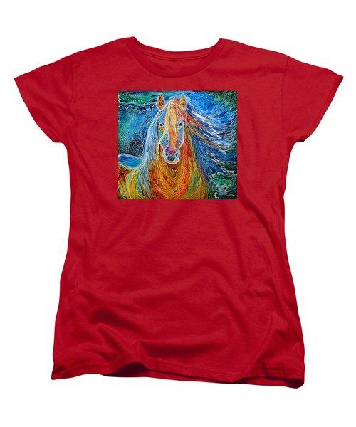 Midnightsun Equine Batik Women's T-Shirt (Standard Cut) by Marcia Baldwin