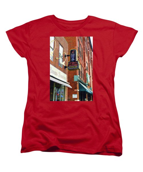 Women's T-Shirt (Standard Cut) featuring the painting Mike's Ice Cream And Coffee Bar by Sandy MacGowan