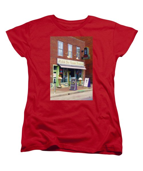 Women's T-Shirt (Standard Cut) featuring the painting Mike's Ice Cream Fountain by Sandy MacGowan