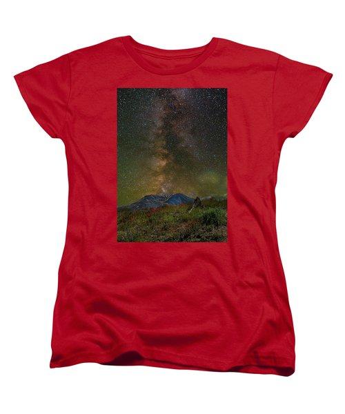 Milky Way Over Mount St Helens Women's T-Shirt (Standard Fit)