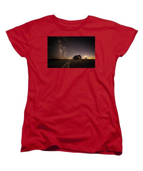 Milky Way Over Prairie House Women's T-Shirt (Standard Cut)