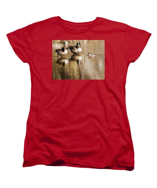 Women's T-Shirt (Standard Cut) featuring the photograph Millards And Green-wing Teal by Edward Peterson