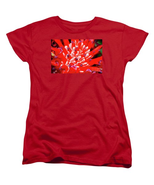 Women's T-Shirt (Standard Cut) featuring the photograph Flaming Torch Bromeliad By Kaye Menner by Kaye Menner