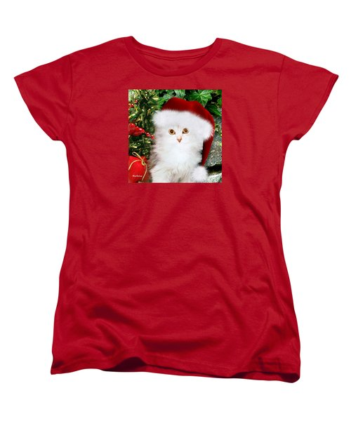 Women's T-Shirt (Standard Cut) featuring the mixed media Mistletoe At Christmas by Morag Bates