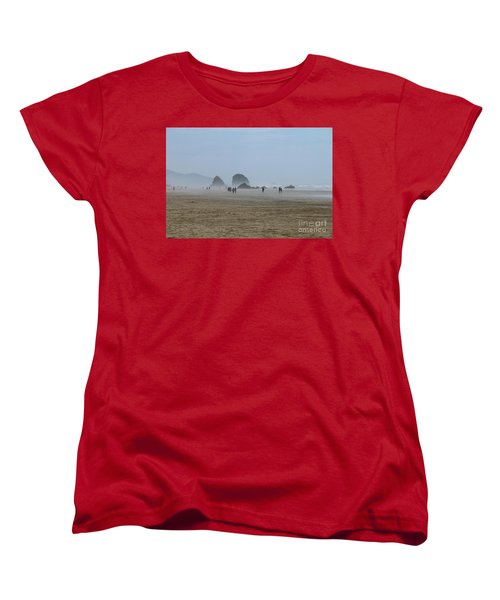 Misty Morning At Cannon Beach Women's T-Shirt (Standard Cut) by Christiane Schulze Art And Photography