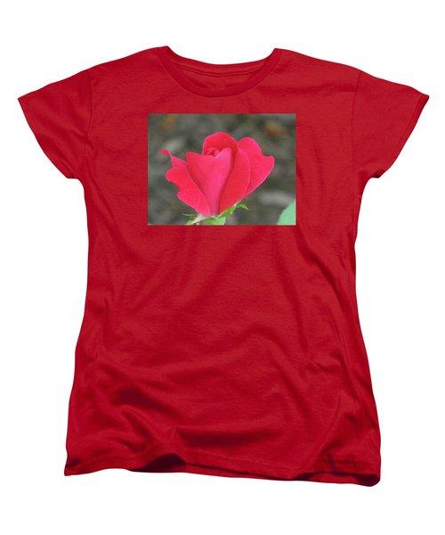Misty Red Rose Women's T-Shirt (Standard Cut) by Michele Wilson