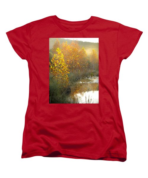 Misty Sunrise At Lost Maples State Park Women's T-Shirt (Standard Cut) by Debbie Karnes