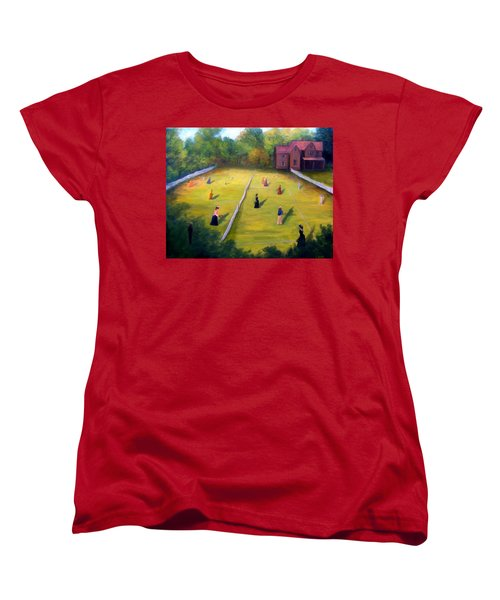 Women's T-Shirt (Standard Cut) featuring the painting Mixed Doubles by Gail Kirtz