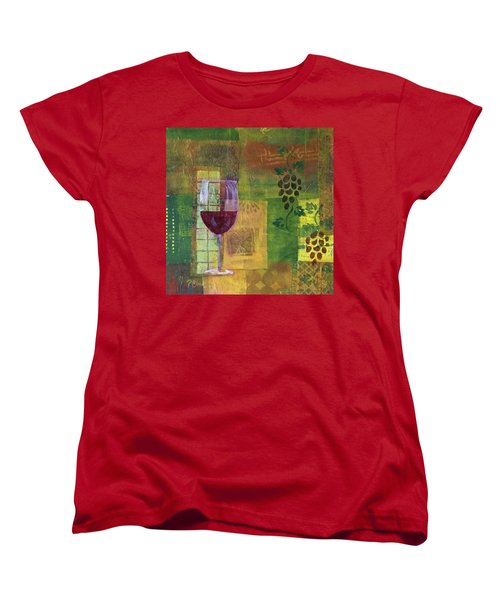 Mixed Media Painting Wine Women's T-Shirt (Standard Cut) by Patricia Cleasby