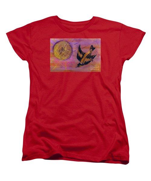 Women's T-Shirt (Standard Cut) featuring the mixed media Mockingbird by Desiree Paquette