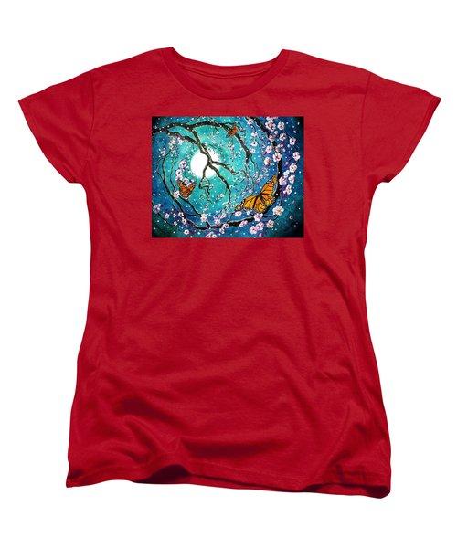Monarch Butterflies In Teal Moonlight Women's T-Shirt (Standard Cut) by Laura Iverson
