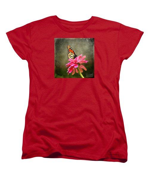 Monarch Butterfly And Pink Zinnia Women's T-Shirt (Standard Cut) by Judy Palkimas