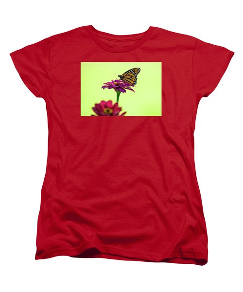 Monarch On A Zinnia Women's T-Shirt (Standard Cut) by Shelly Gunderson