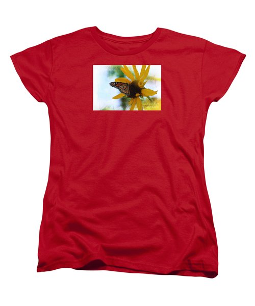 Monarch With Sunflower Women's T-Shirt (Standard Cut) by Yumi Johnson
