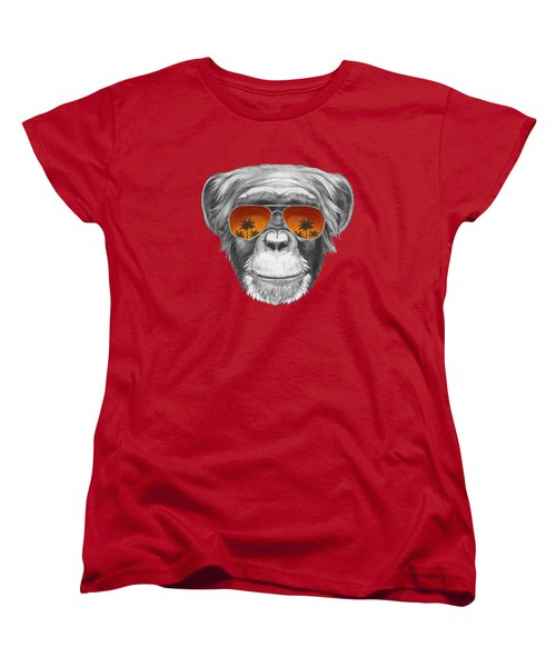 Monkey With Mirror Sunglasses Women's T-Shirt (Standard Cut) by Marco Sousa