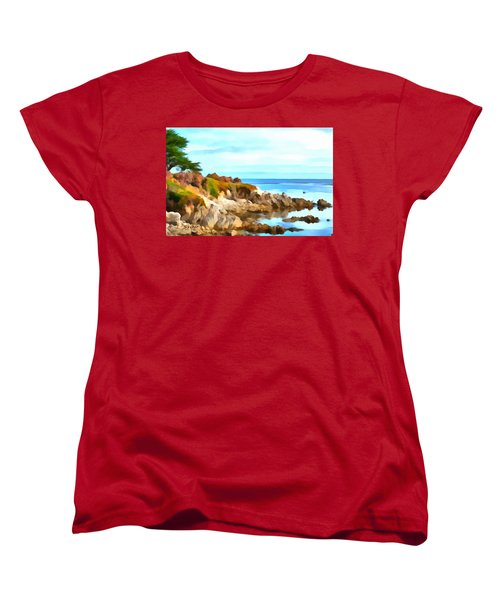 Women's T-Shirt (Standard Cut) featuring the photograph Monterey Coastline Watercolor by Floyd Snyder
