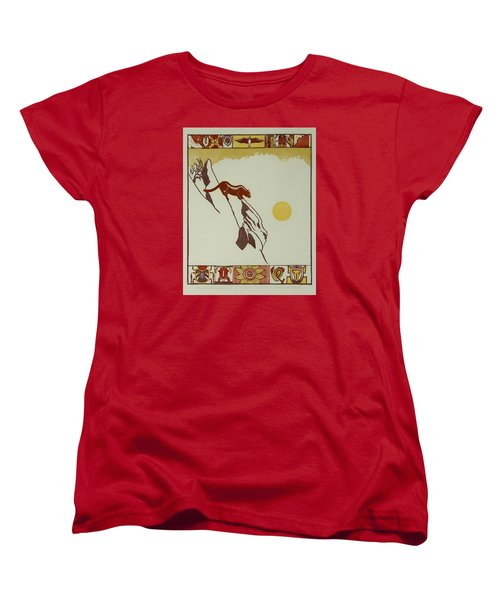 Moon Of Red Chokecherries Women's T-Shirt (Standard Cut) by Dawn Senior-Trask