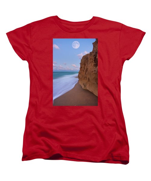Moon Over Hutchinson Island Beach Women's T-Shirt (Standard Cut) by Justin Kelefas