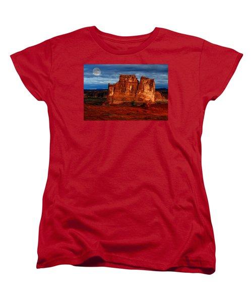 Women's T-Shirt (Standard Cut) featuring the photograph Moon Over La Sal by Harry Spitz