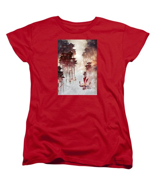Women's T-Shirt (Standard Cut) featuring the digital art Moon Palace by Te Hu