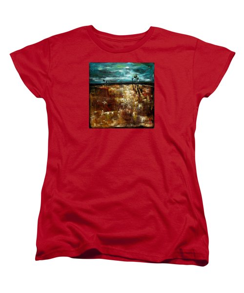 Women's T-Shirt (Standard Cut) featuring the painting Moonlight Over The Marsh by Linda Olsen