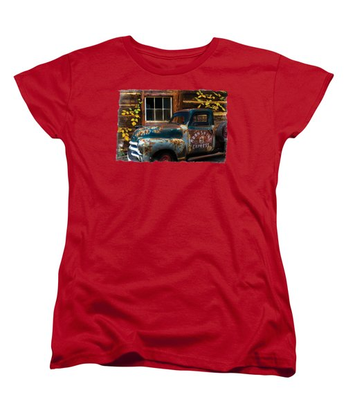 Moonshine Express Bordered Women's T-Shirt (Standard Cut) by Debra and Dave Vanderlaan