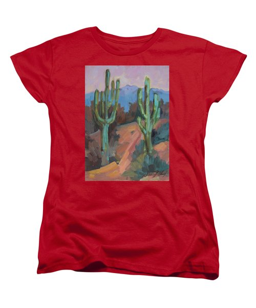 Women's T-Shirt (Standard Cut) featuring the painting Morning At Fort Apache by Diane McClary