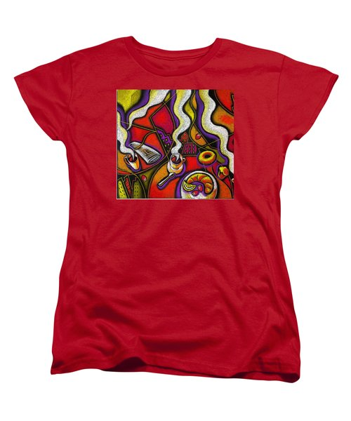 Women's T-Shirt (Standard Cut) featuring the painting Morning Coffee Cup And Muffin  by Leon Zernitsky