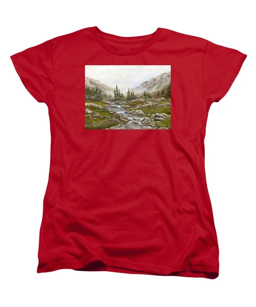 Women's T-Shirt (Standard Cut) featuring the painting Morning Rising Fog by Dorothy Maier